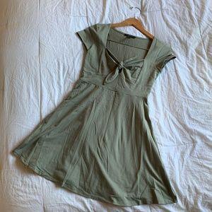 Olive Tie Front Skater Dress